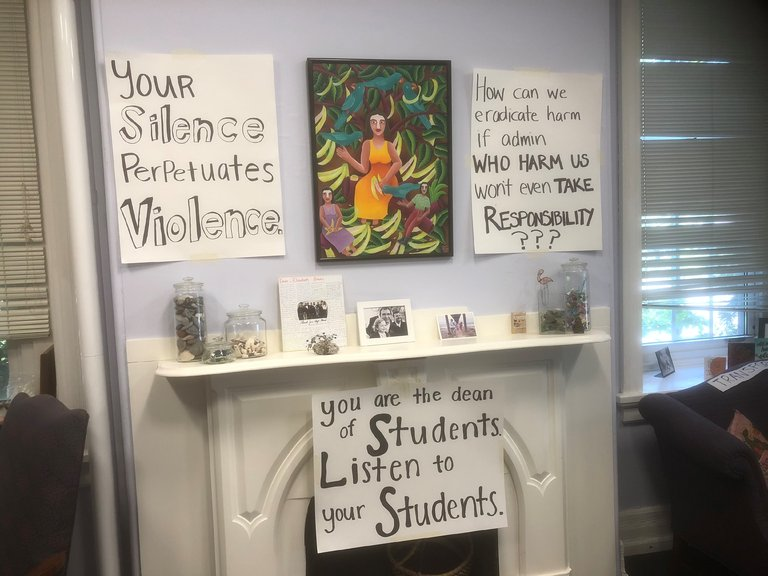 Student posters in Liz Braun's office during the sit-in from May 1-May 9. Photo courtesy of Vinny Villa, Staff Photographer at  The Philadelphia Inquirer