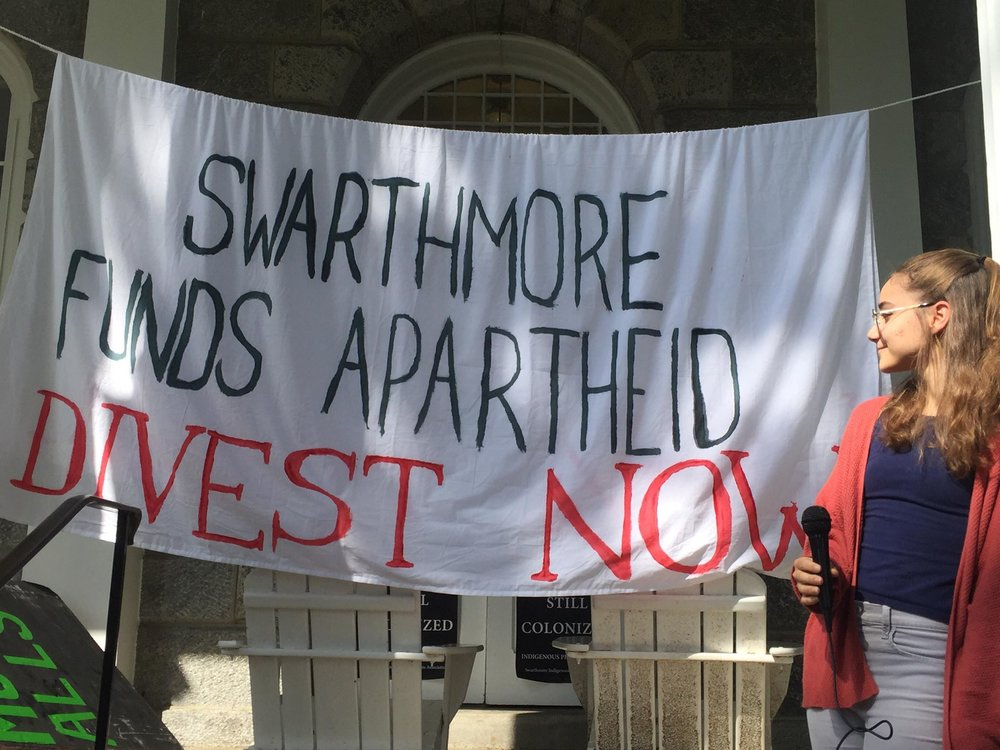 Zoe Jannuzi '22 announces campaign for Swarthmore to boycott, divest, and sanction Israel.