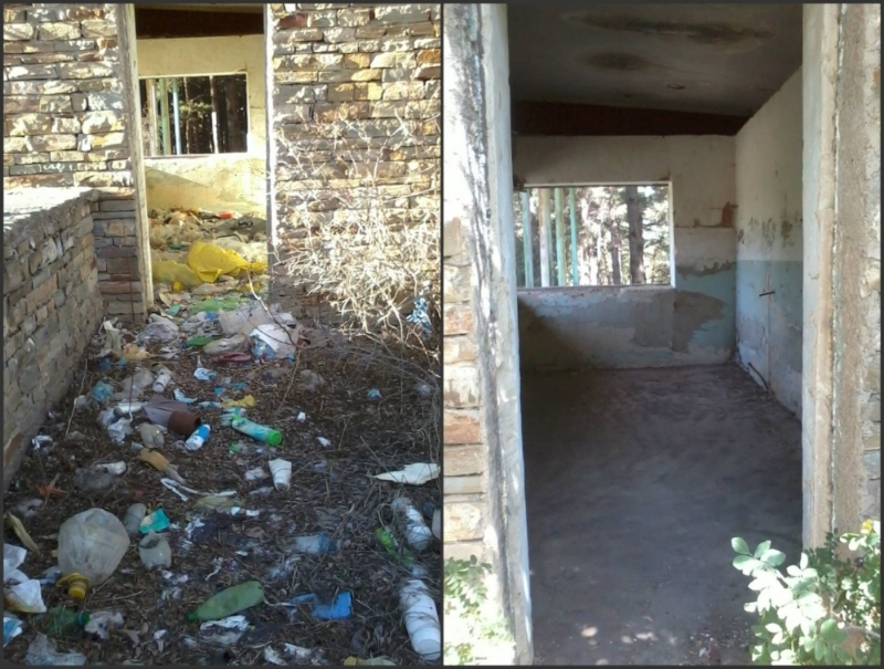 An abandoned building in Hrazdan Park before and after AEN staff and volunteers cleaned up the area
