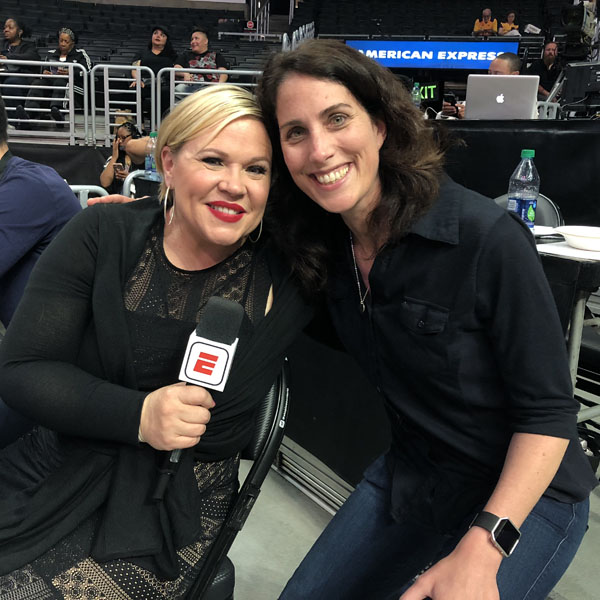 Erin with ESPN's Holly Rowe at an LA Sparks game.