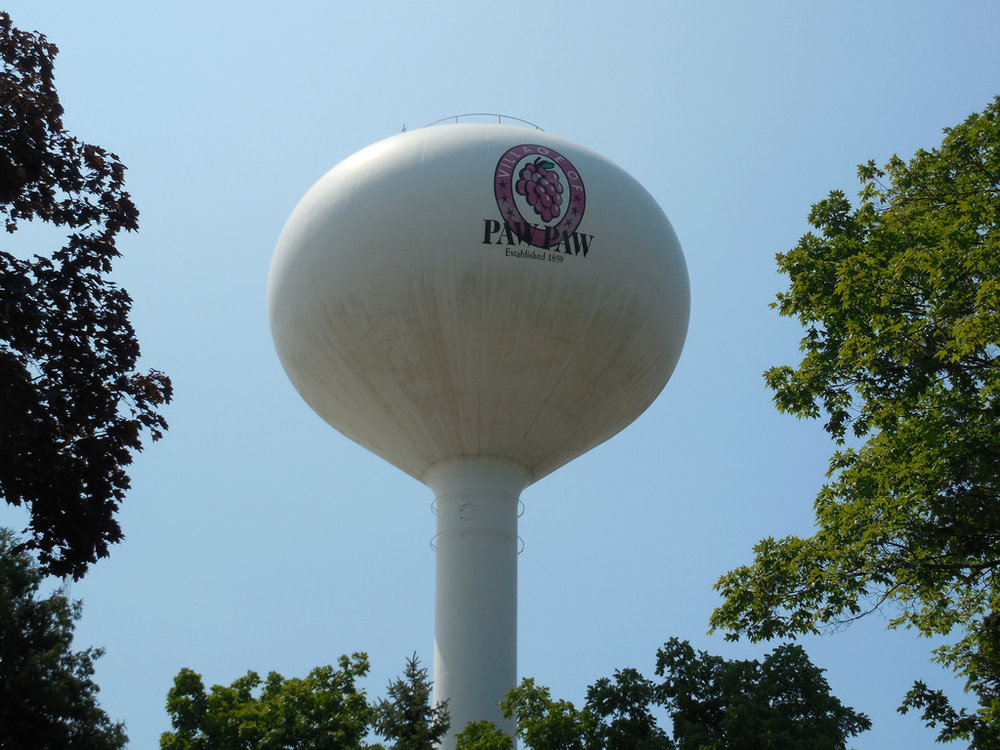 """water tower, Paw Paw, Michigan"""