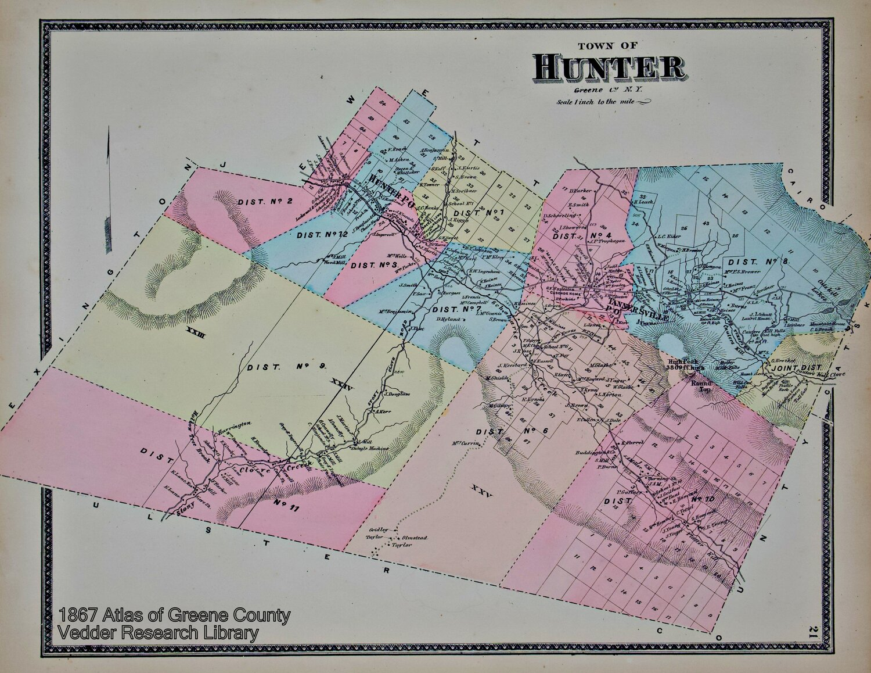 16x24 Hunter New York 1890 Historic Panoramic Town Map