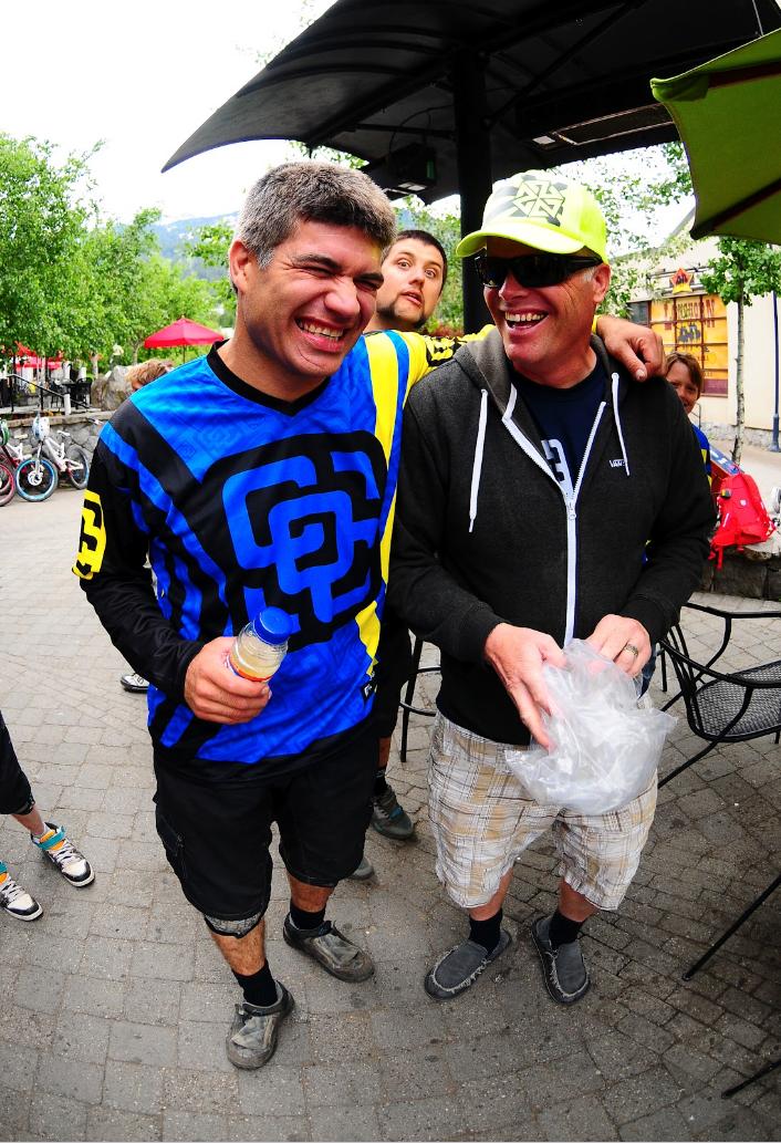 Legendary Mountain Bike Pro, Brett Tippie the godfather of freeride with Ken in Whistler.