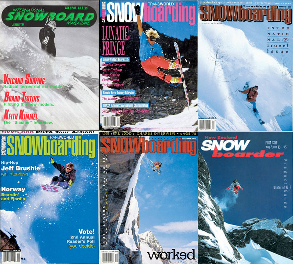 Top left, Ken on the cover of ISM Magazine in 1988. All the rest are covers that Ken shot as he travelled the world for the snowboard magazines. He's pretty good at taking photos of houses and condos as well :)
