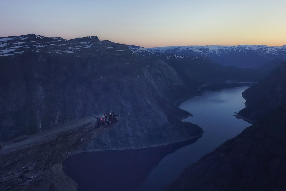 Enjoying the sunset all alone at Trolltunga.