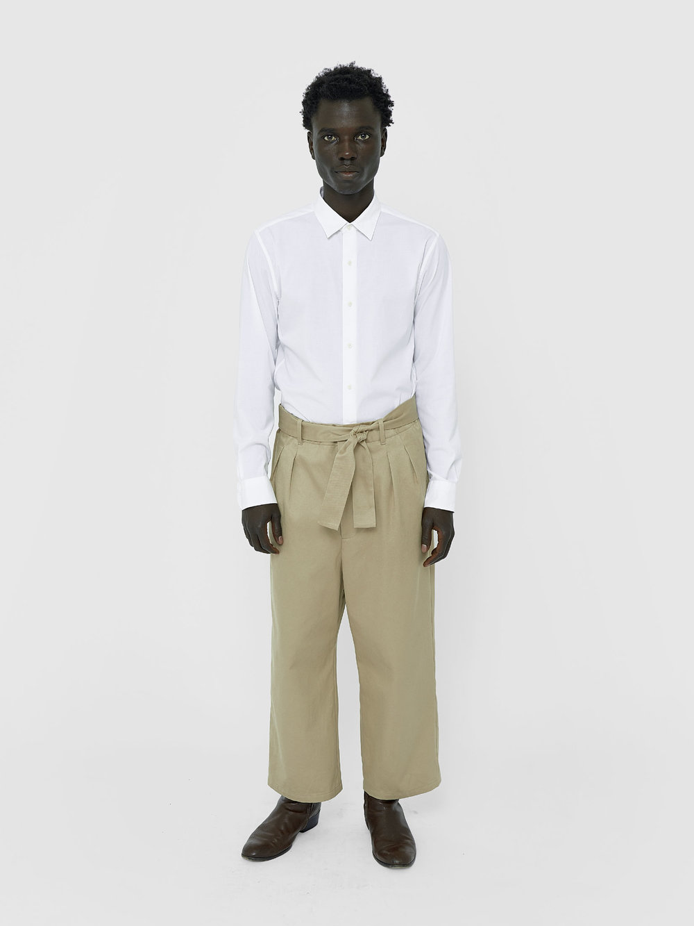 George Wears One DNA Paperbag-waist Pant In Khaki