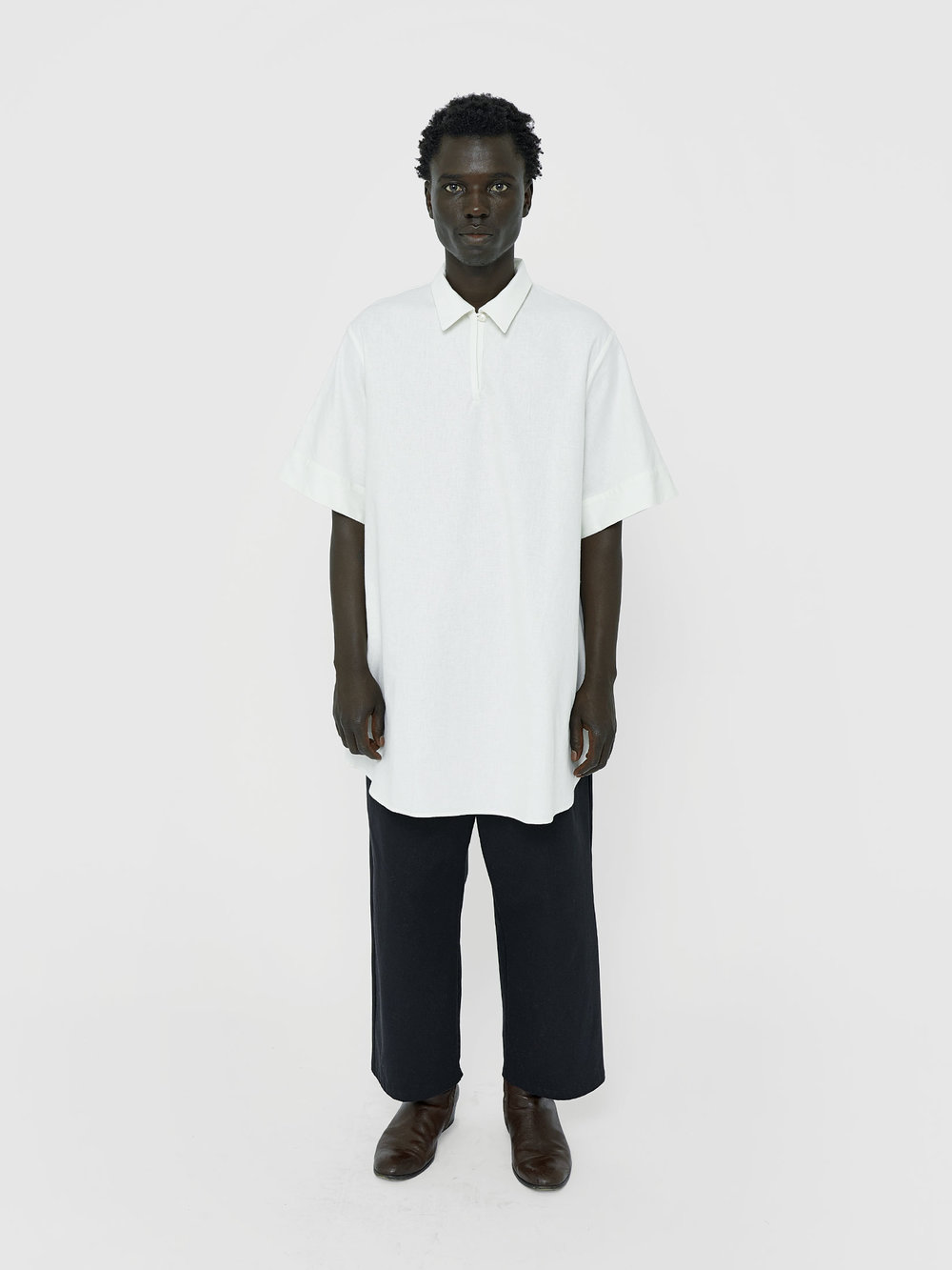 George Wears One DNA Versatile Tunic In White