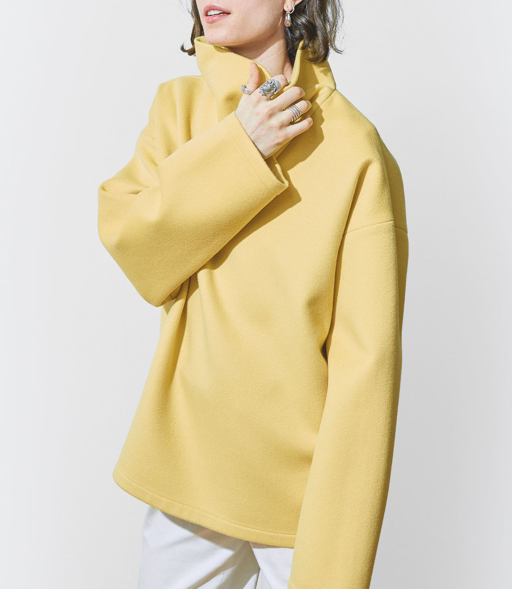Stella Wears One DNA Wool Cashmere Top with Cowl Neck in Yellow