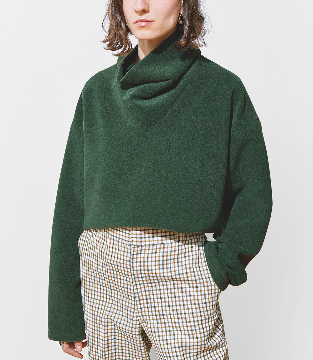 Stella Wears One DNA Wool Cashmere Top with Cowl Neck in Green