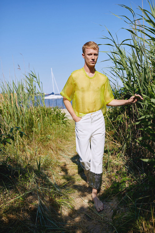 Hamp Wears White Denim Jean for One DNA's SS19 Lookbook