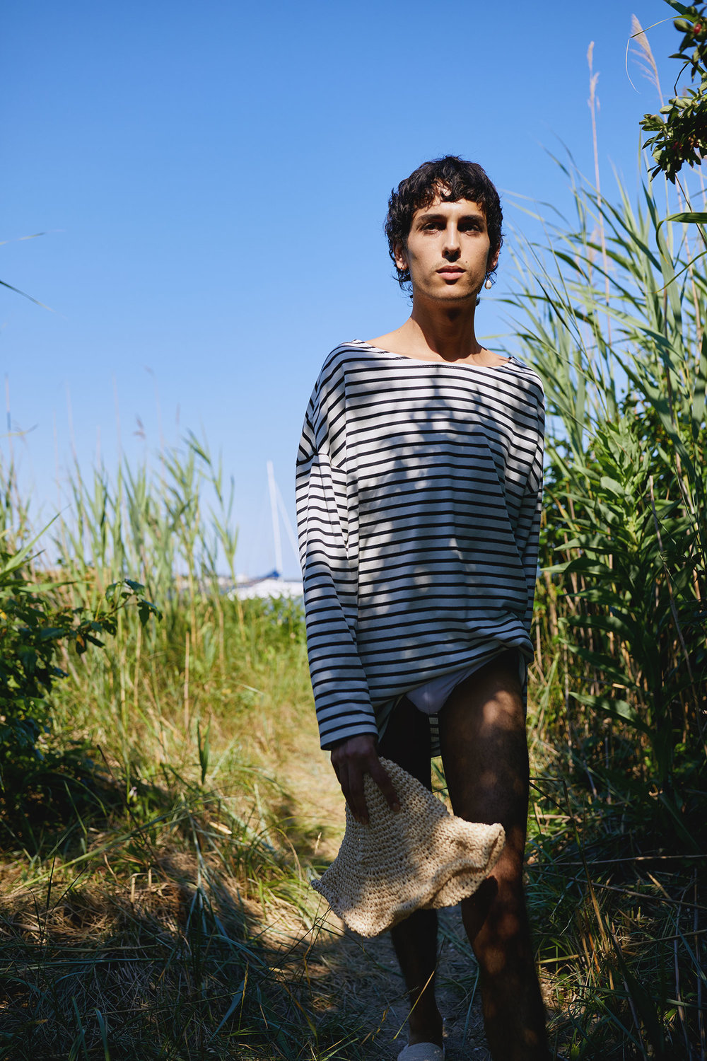 Jordan at Fire Island Wearing One DNA's Striped Boatneck Top
