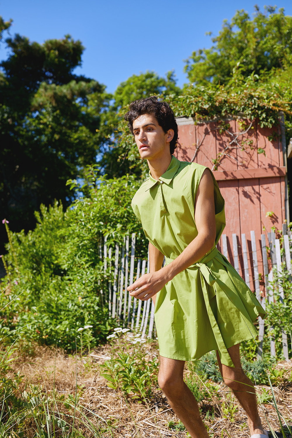 One DNA's Gender-neutral Tunic Photographed at the Fire Island Pines