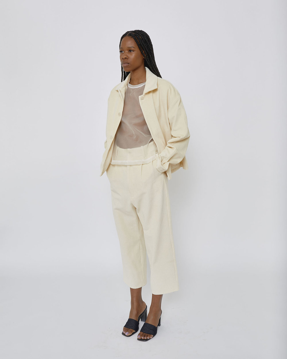 Kemi wears corduroy jacket and pant, available now at Edifice in Tokyo.
