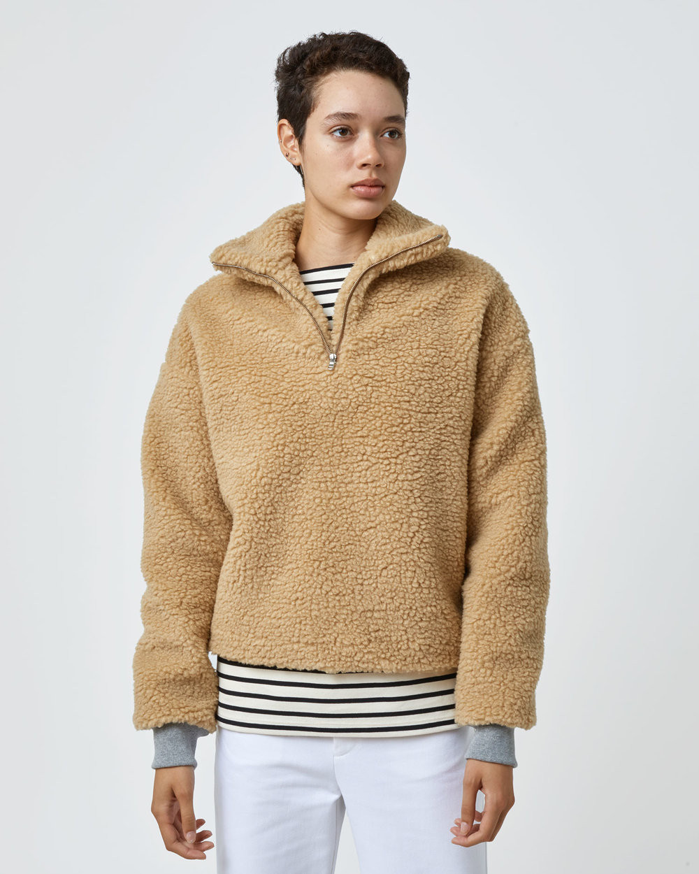 Shop One DNA Sherpa Fleece Half-zip in Camel with Gray Cuffs
