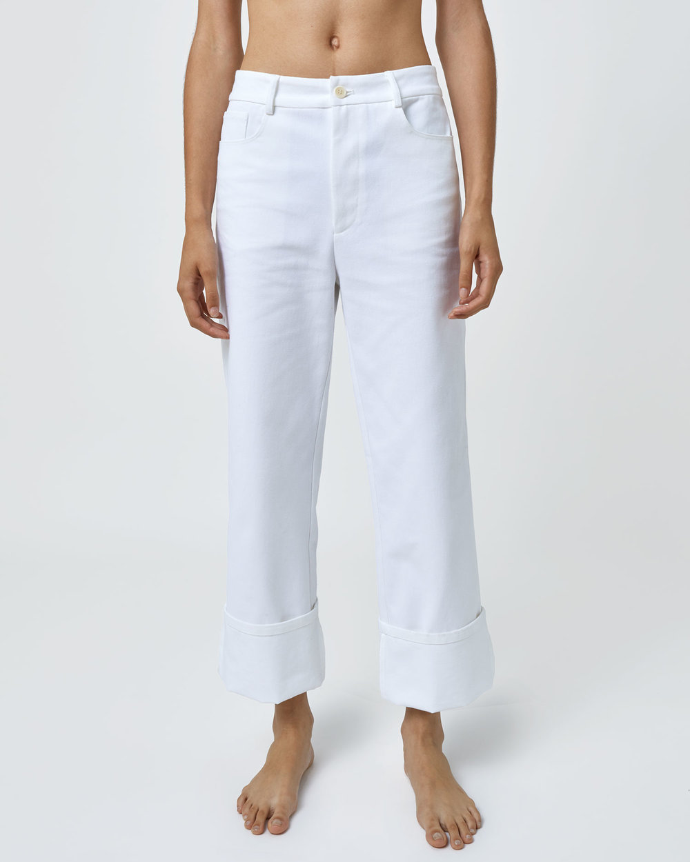 Shop One DNA White Denim Jean with Folded Cuffs