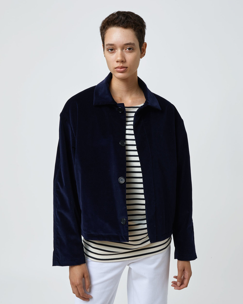 Shop Corduroy Jacket in Navy by One DNA