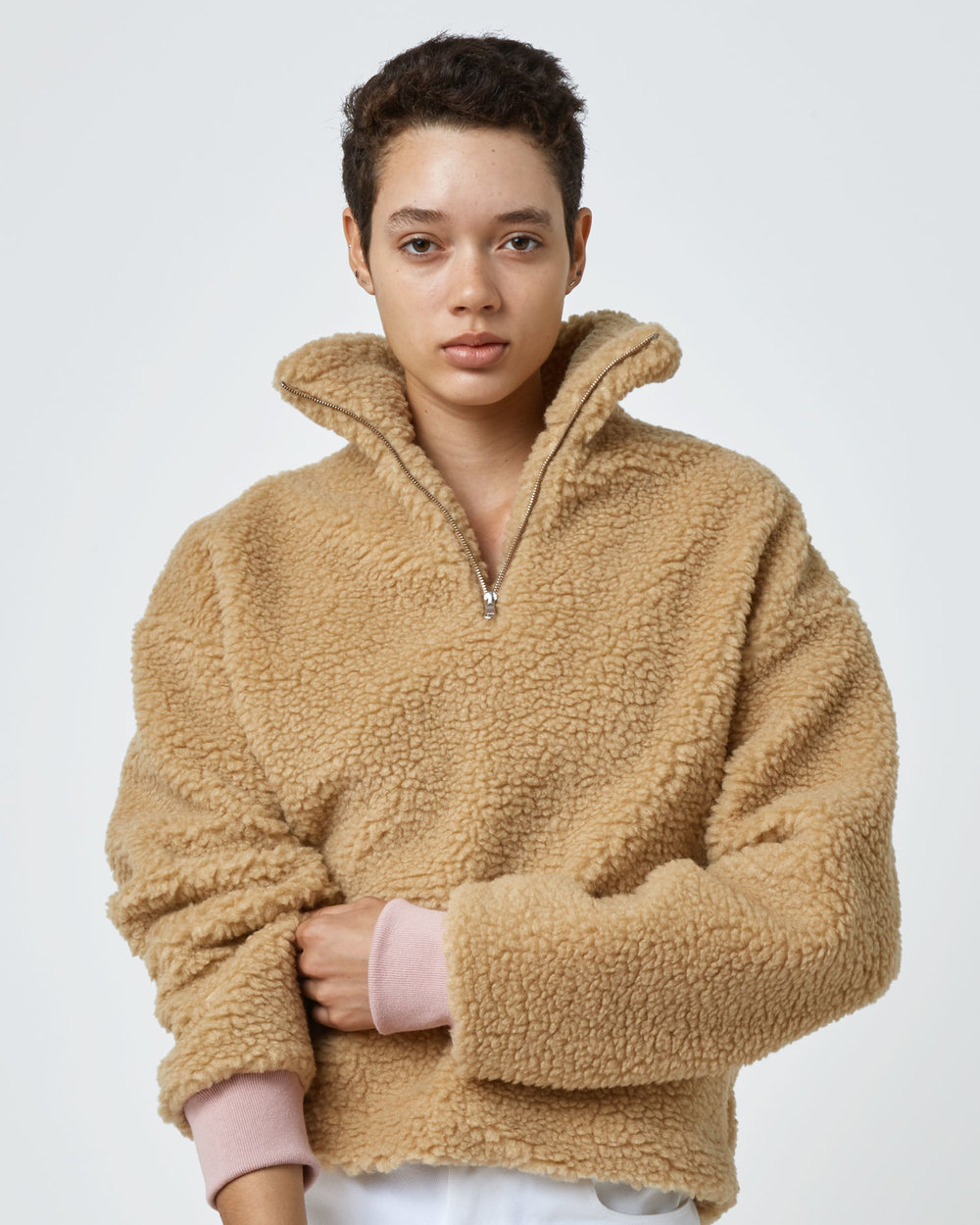 Shop Teddy Fleece Sweater in Camel with Pink Rib by One DNA