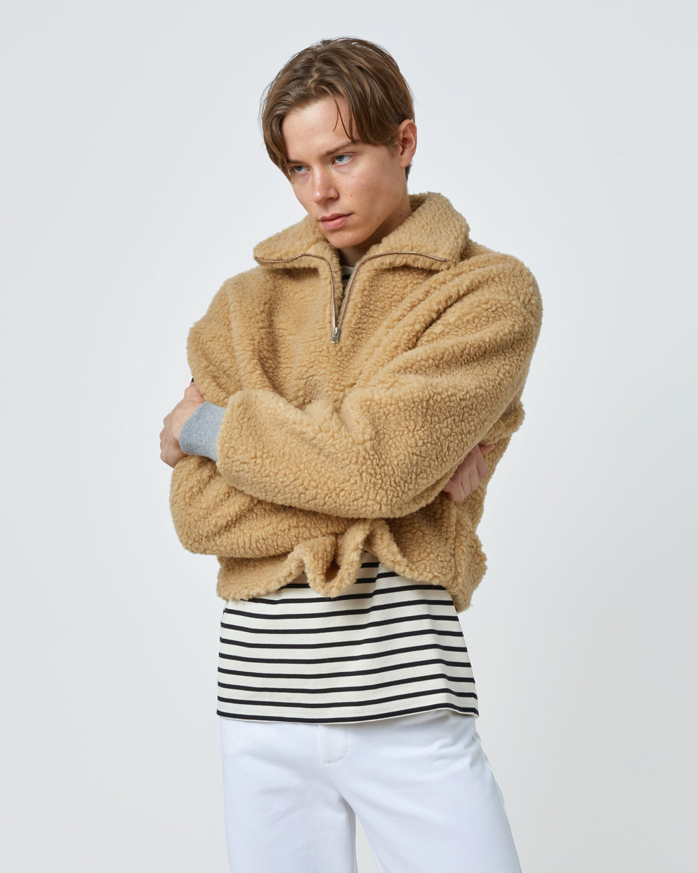 Shop Teddy Fleece Sweater in Camel with Grey Rib by One DNA