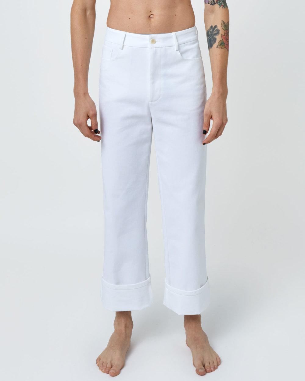Gender-neutral Jeans by One DNA. Straight-leg, Raw Denim Jean in White.