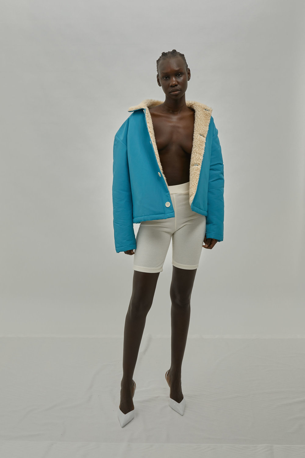 Blue Grosgrain Jacket with Sherpa Fleece Lining For One DNA Lookbook