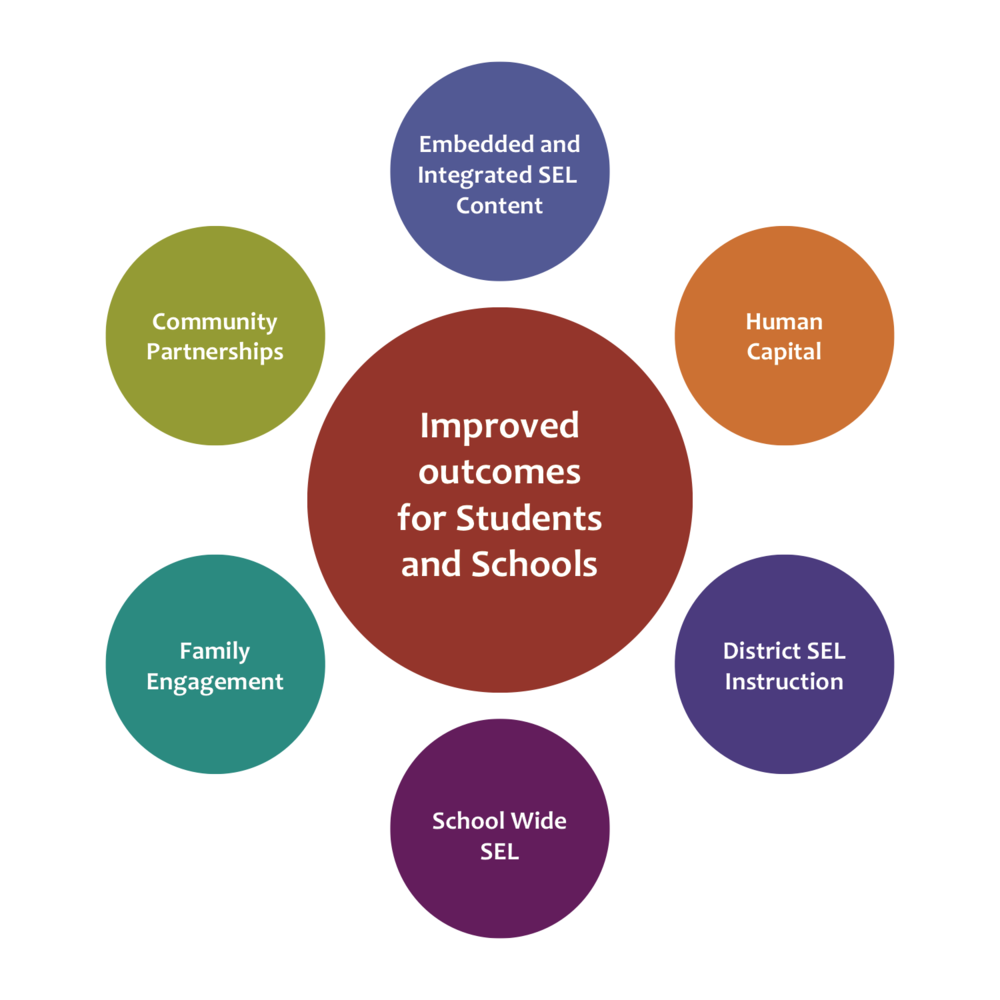 SEL - Outcomes for success - infographic of many colored circles
