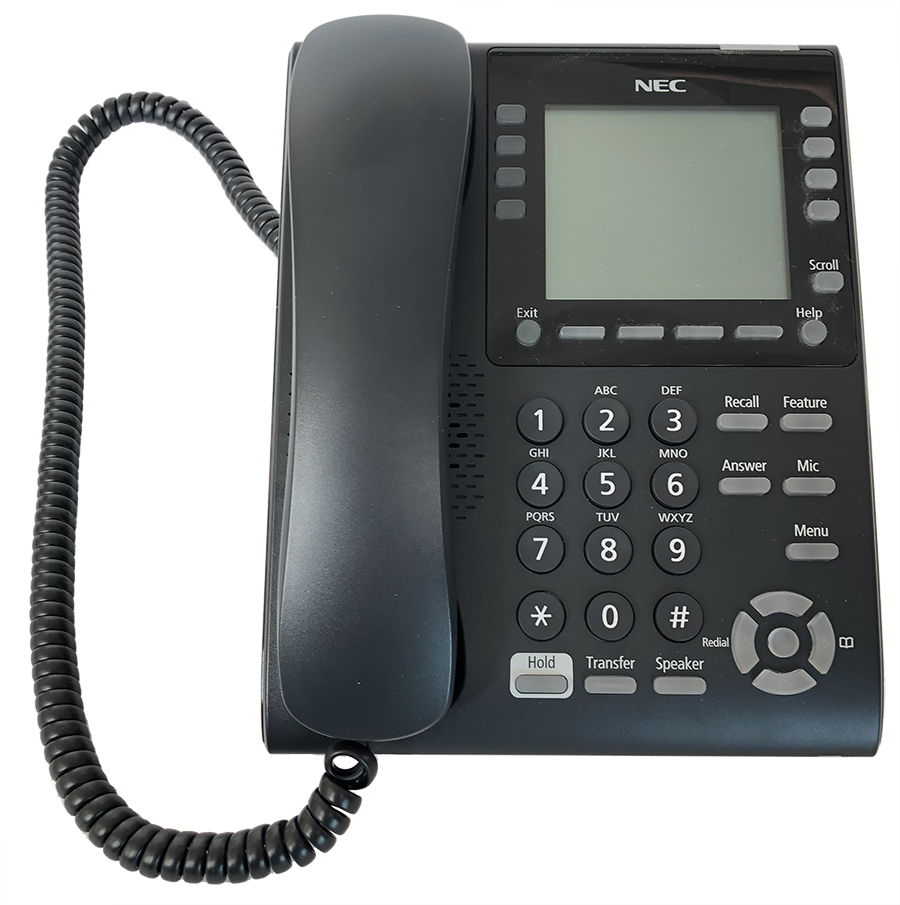 Desk Phone with a single screen and 8 buttons