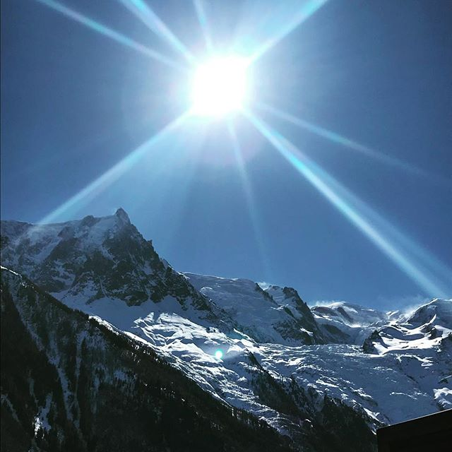 Glorious view of #aiguilledumidi #montblanc & #aiguilleverte from #cafealpin at #Brevent #topofeurope