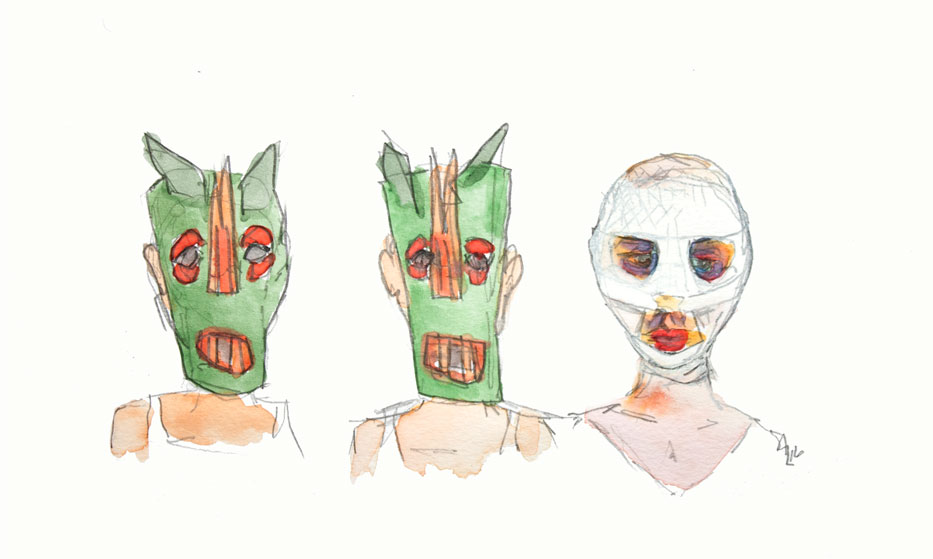 Gouache and pencil on paper, digitally manipulated - for 'Goodnight Mommy'