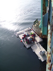 Dive platform equipped for the cable replacement