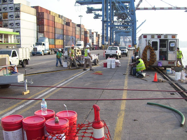 Crew working during a normal business day at the port