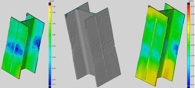 Structural scans of different H piles showing areas of greatest section loss