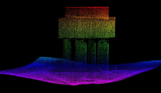 High-resolution point cloud image of bridge structure