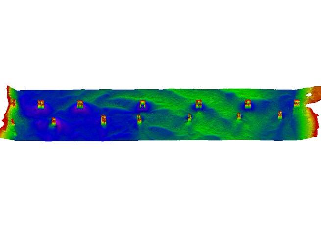 Multibeam data showing areas of shoaling and erosion around bridge structures