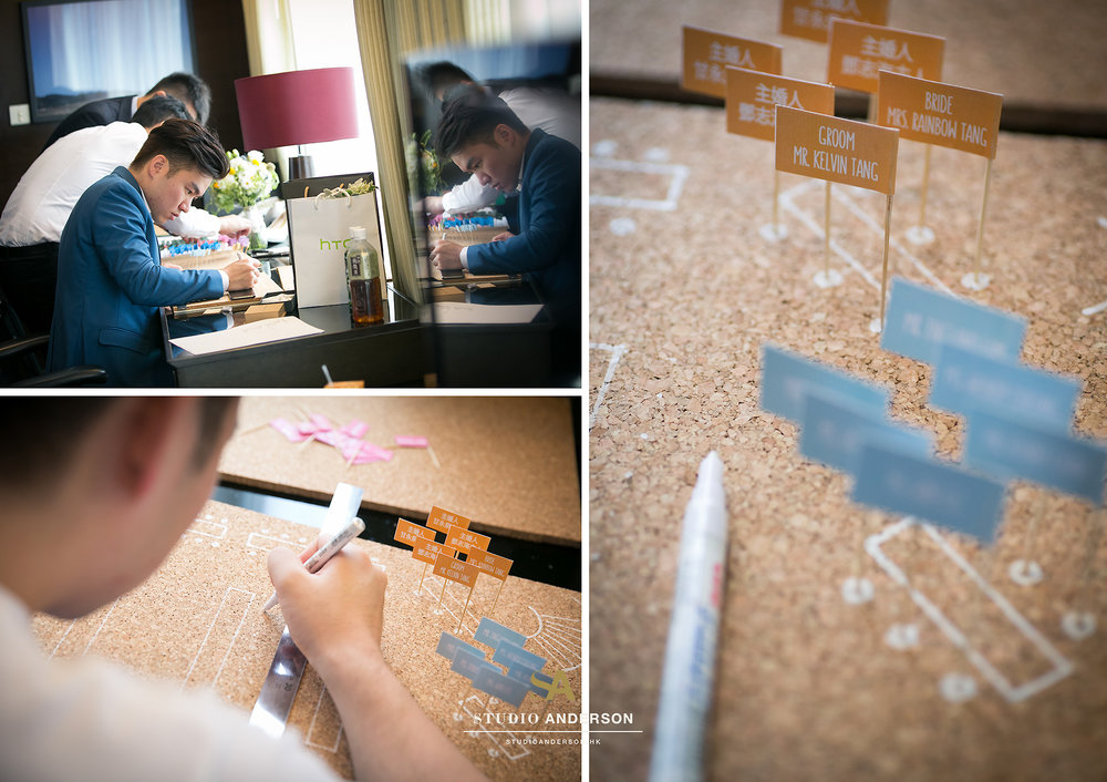 Groom is working hard on his nicely designed seating plan!