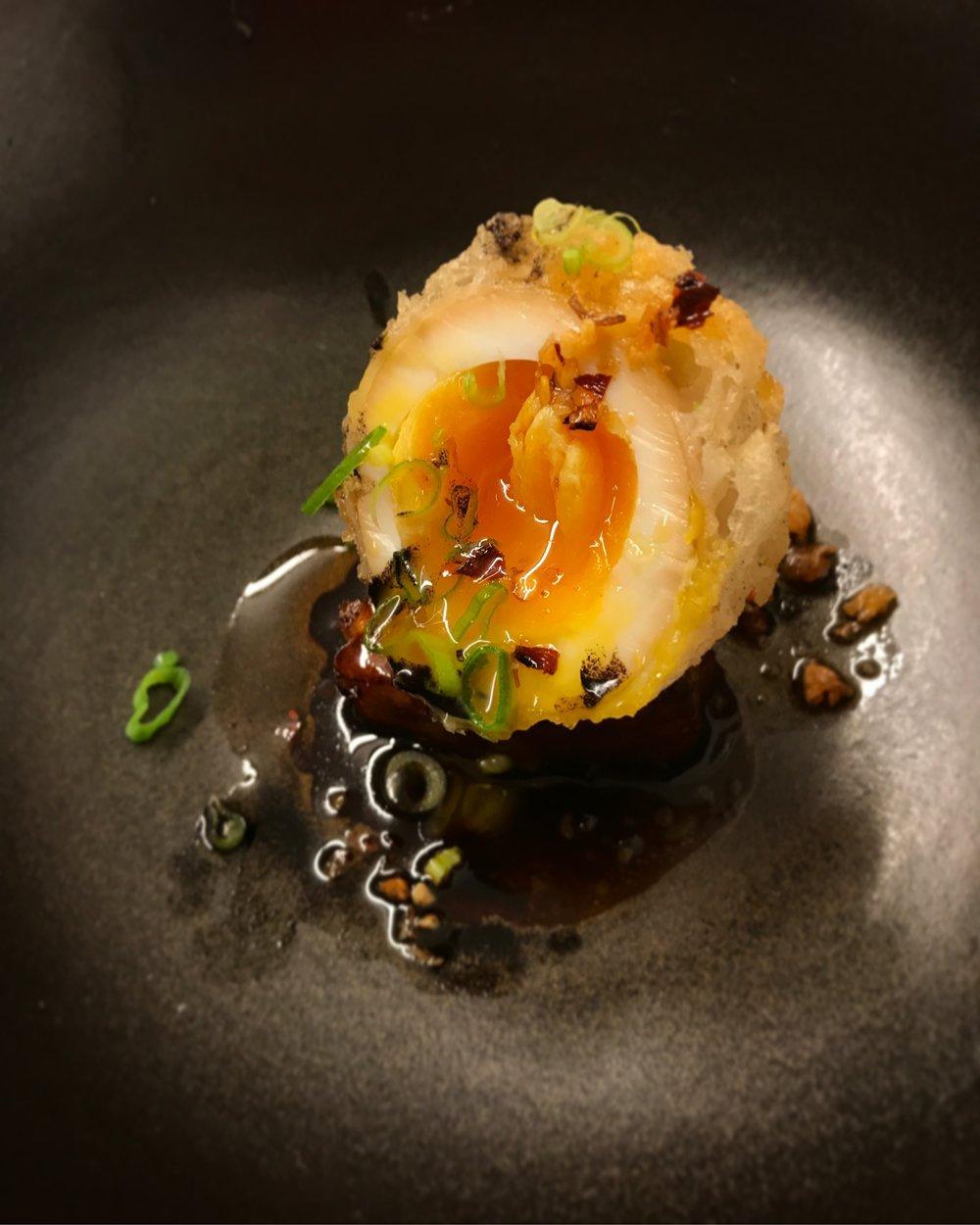 Tempura Fried Ajitama over Crispy Pork Belly