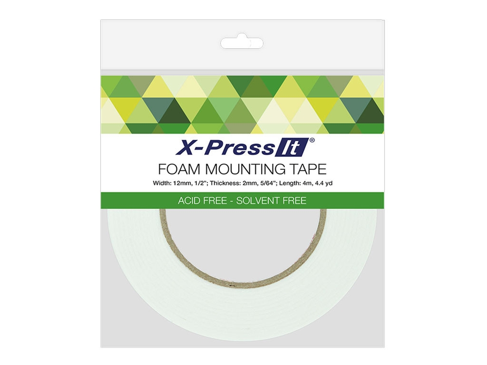 DOUBLE-SIDED FOAM TAPE - Create 3D effects with this double-sided foam tape. It is heat resistant for embossing and acid- and solvent-free. Easy-to-peel paper backing is non-static. Fits most dispensers.Acid free, solvent free and heat resistant.Available in multiple widths: • 1/2