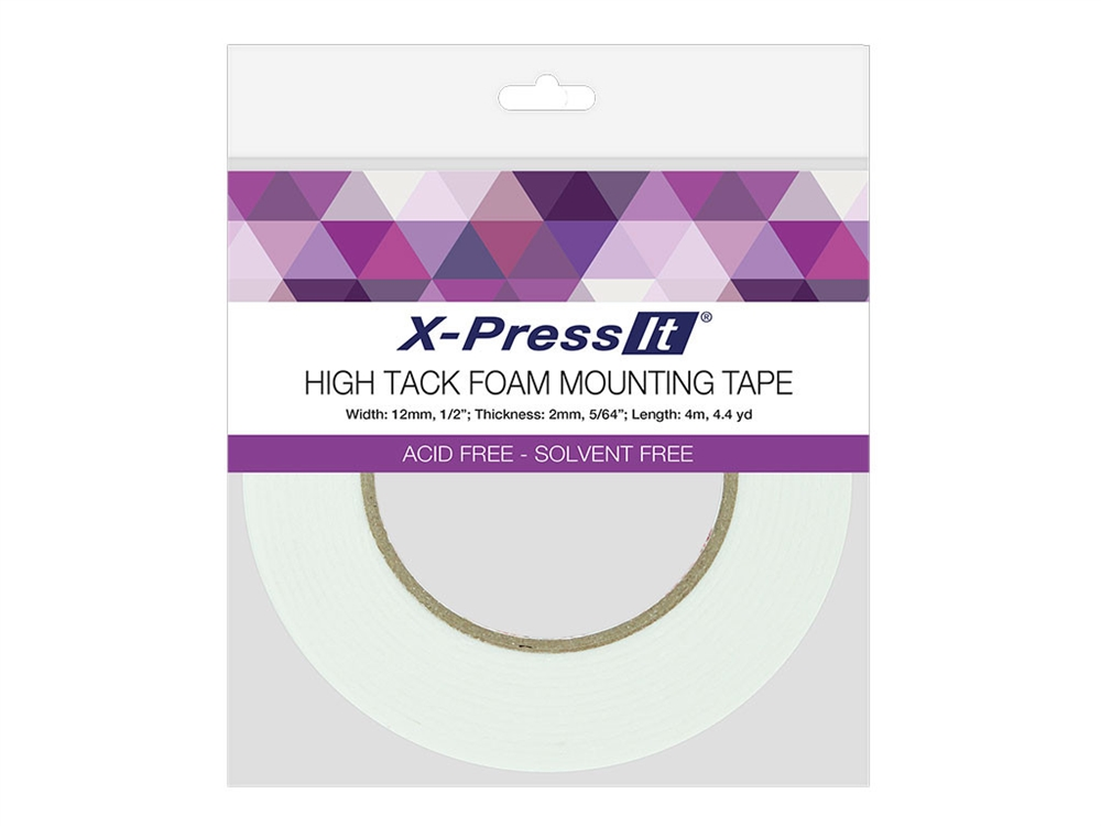 HIGH TACK DOUBLE-SIDED FOAM TAPE - Easy-to-peel paper backing is non-static. Tape rolls have a 3