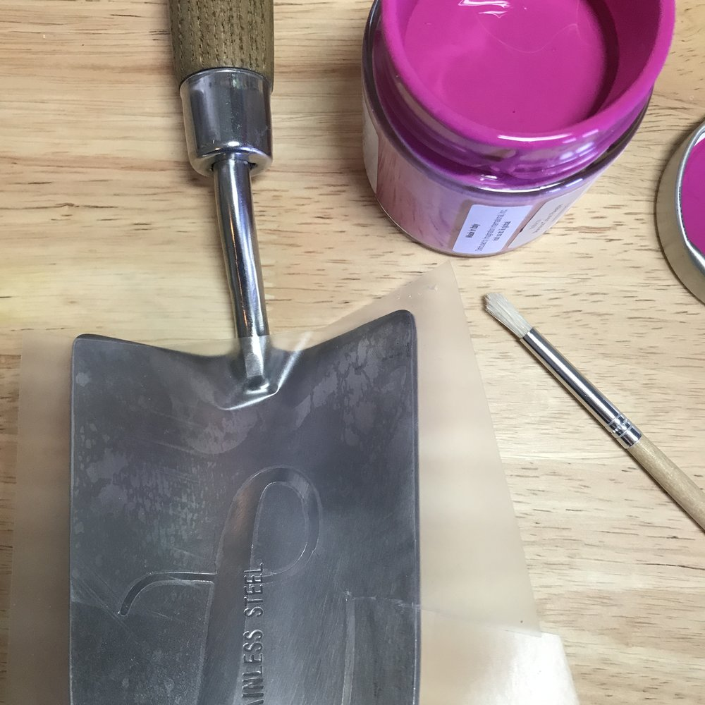 Paint monogram on garden tools 3