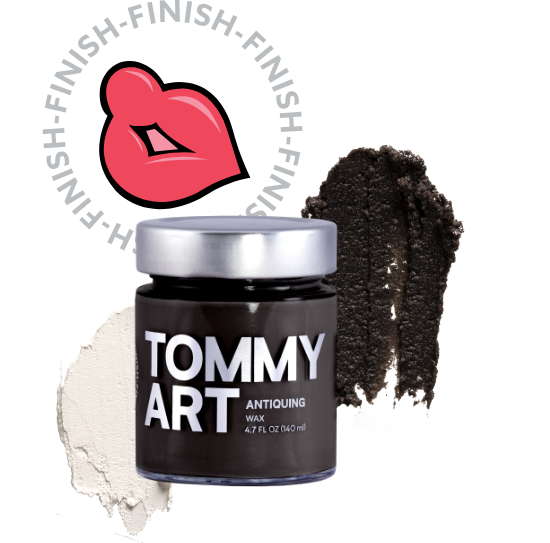 Seal it with a kiss - To protect and finish surfaces. The waxes and varnishes of the Tommy Art Finish line add a perfect final touch to any DIY project. But it doesn't stop there. Create an aged appearance, add a matte or glossy coat, or enhance colors and textures. But please, save the real kisses for your loved ones.