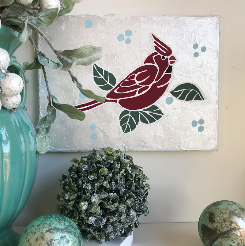 DIY Cardinal Wall Art using Tommy Art