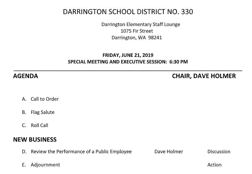 Special Board Meeting/Executive Session — Darrington School