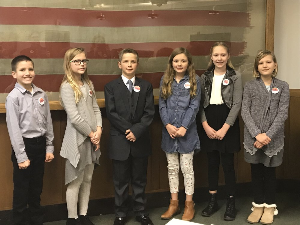 Dom Peters with some of the finalists who ran to be Oregon's Kid Governor.