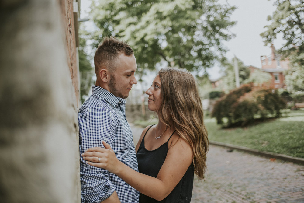 Avery and Noah Romantic Engagement Session in downtown Covington and French Park. Cincinnati Engagement Photography