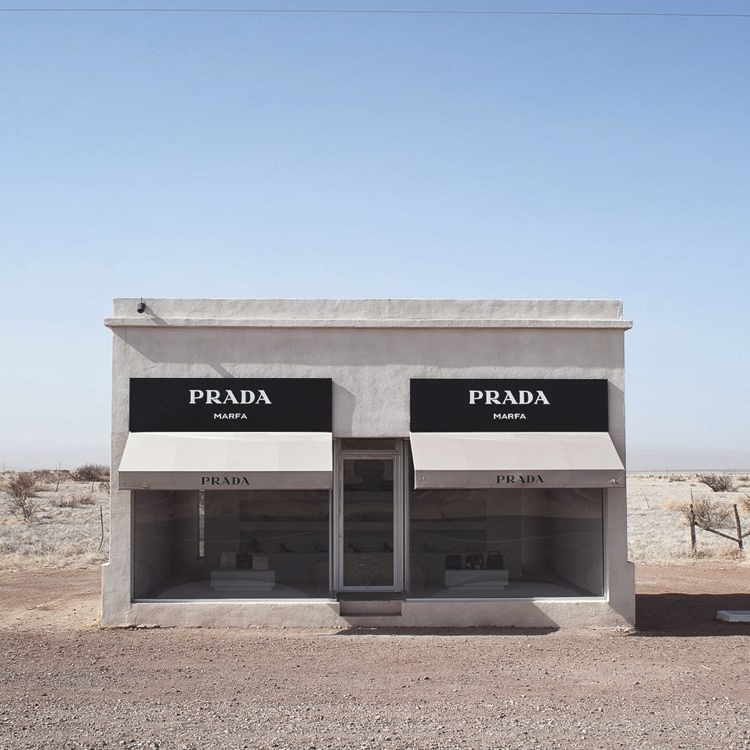 PRADA MARFA  - By now, everyone's heard of Marfa, the supposed hometown of the iconic installation of artists, Elmgreen and Dragset. Except, what you probably don't know is Prada Marfa is not in Marfa. It's about half an hour away - a West Texas minute - in Valentine, Texas. But, it's a must see if you go all the way out to Marfa. FYI, the installation has been repaired several times after vandalism, though it was initially intended to decay into its landscape.