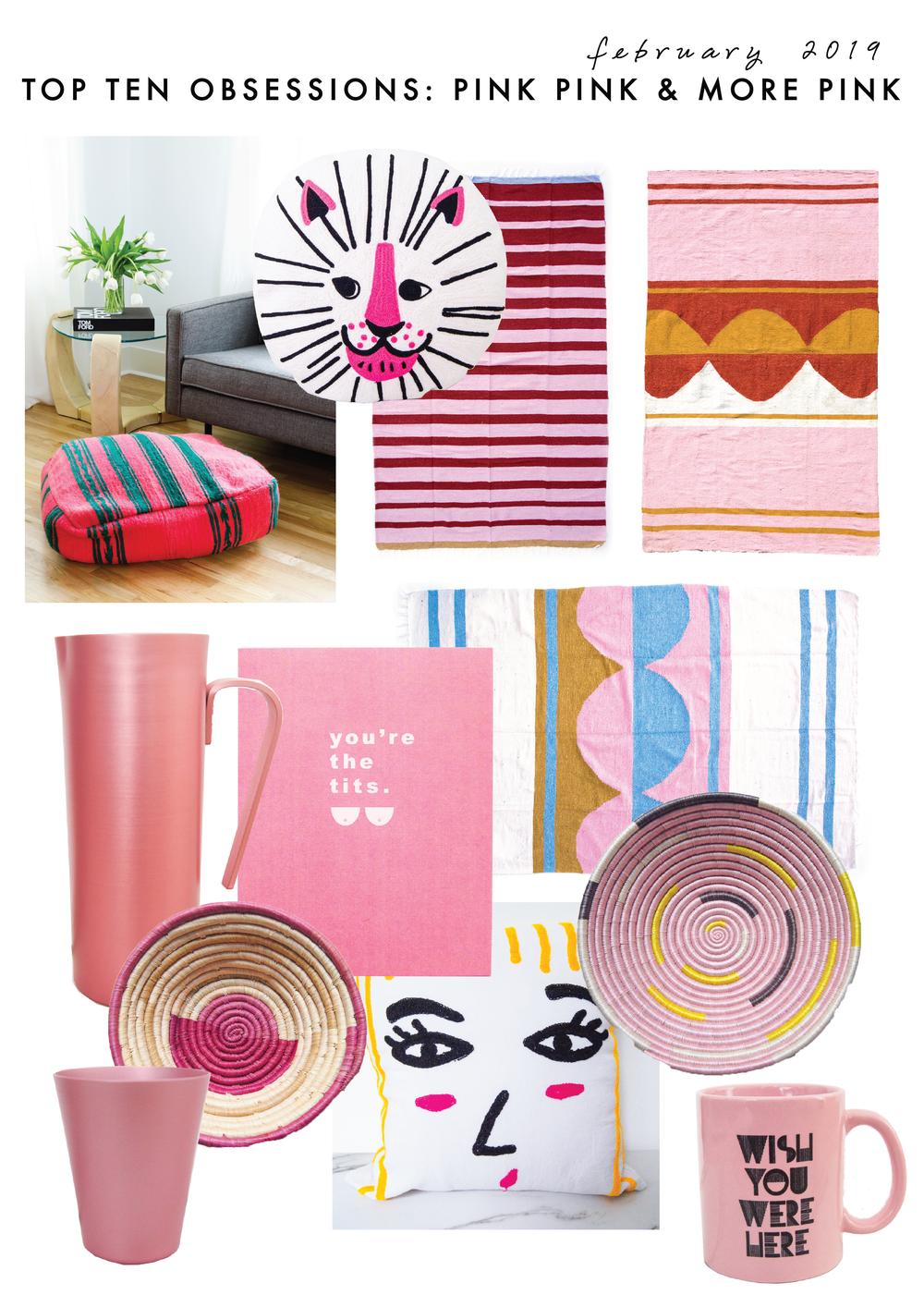 Pink + Green Pouf  //  Hello Lion Pillow  //  Havana Blanket  //  Fez Blanket  //  Geneva Blanket  //  Matte Rose Pitcher  //  You're The Tit's Card  //  Selfie Pillow  //  Sunset Lover Bowl  //  Marfa Bowl  //  Matte Rose Tumbler  //  Wish You Were Here Mug