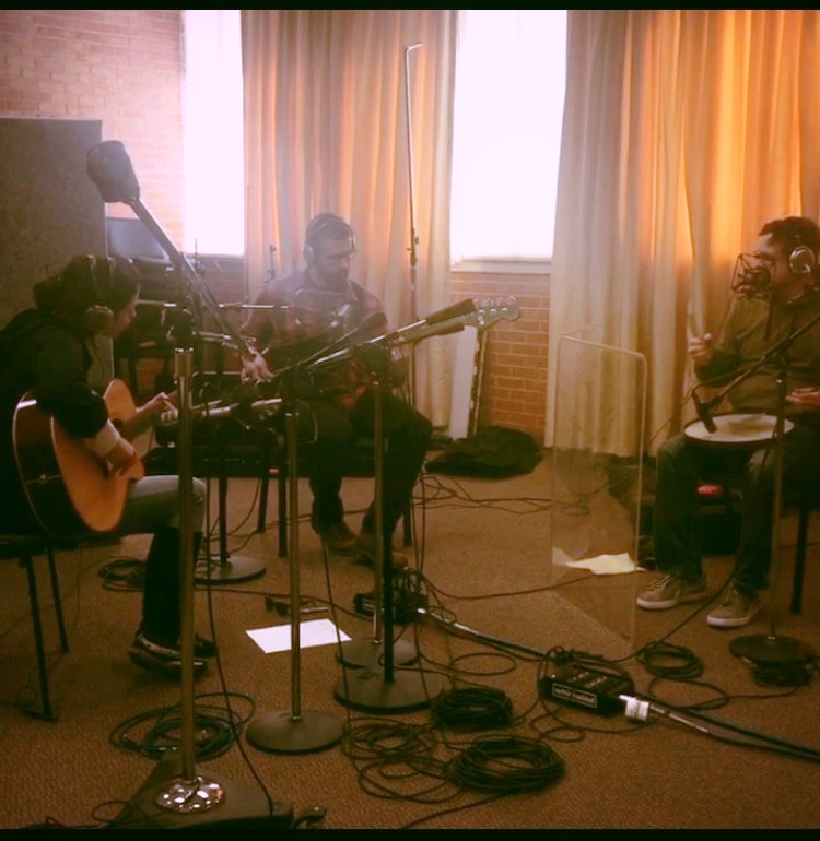 KALO at KGOU Studios in Norman, OK, recording a Studio Sessions program with Hardluck Jim Johnson