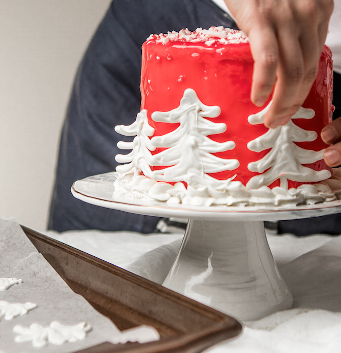 DIY Candy Cane Forest Cake