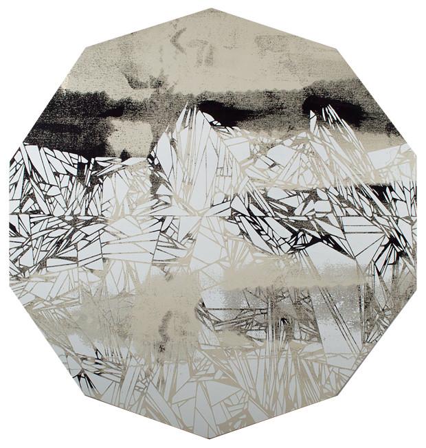 Glitch Mountain, 36 x 36 inches / 91.44 x 91.44 cm, pigment on canvas, 2017
