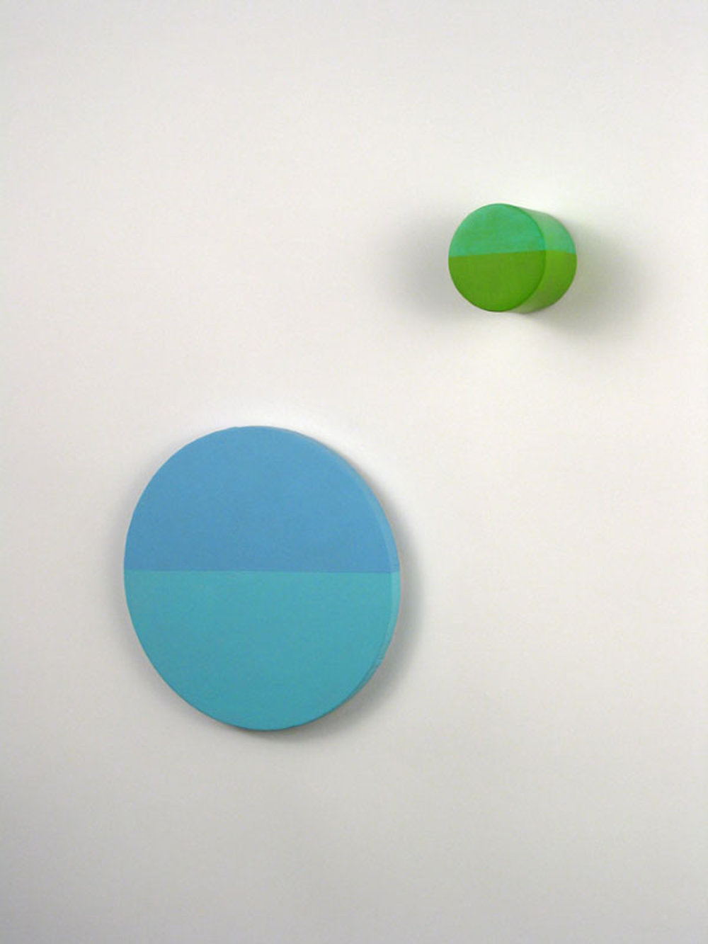 Parakeet for Palermo (Group 2),  Large disc: 8 x 0.5 inches / 20 x 1.5 cm, Small disc: 2.375 x 2 inches / 6 x 5 cm, acrylic on canvas and acrylic basswood filled with poplar, 2010