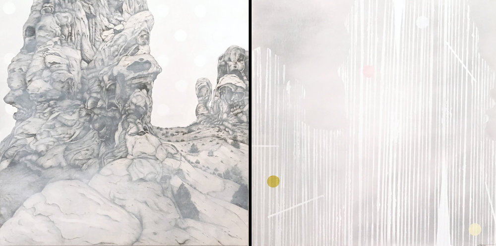 Gray Spires, 20 x 40 inches / 50.8 x 101.6 cm, graphite, oil on wood panels, 2017